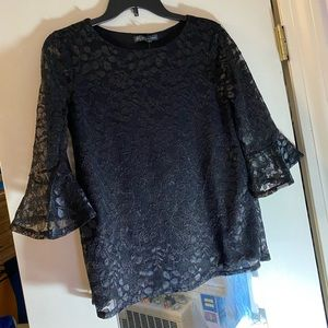 Floral Glitter Black Blouse with Flowy Sleeves